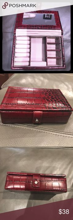 💍Never used travel jewelry case from Ann Taylor💍 Perfect for travel or to hold your favorites. I received this as a gift and never used it. It feels like leather but I can't find a tag to say for sure. 4 inches by 6.25 inches. You will love this! Ann Taylor Jewelry