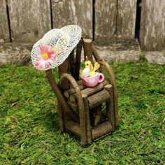 Spring Fairy Garden Miniature Chair by TheEnchantedAcorn #fairyfurniture