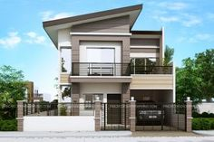 Modern House Designs Series: Modern House Designs series features a 4 bedroom 2 story house design. The ground floor features a 2 car garage dining, kitchen and 1 bedroom. The second floor contains the 2 bedrooms shar Modern Bungalow House, Bungalow House Plans, Bedroom House Plans, New House Plans, Modern House Plans, House Floor Plans, Bungalow Designs, Modern Zen House, 4 Bedroom House Designs