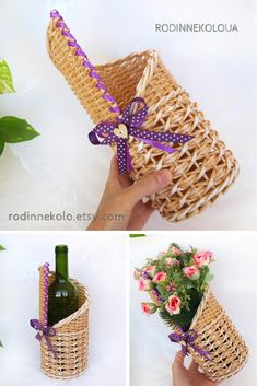 Cafe decor Purple decorative vase Wine basket Wicker bottle basket Wedding purple decoration Wicker wedding Wine gift basket Interior vase
