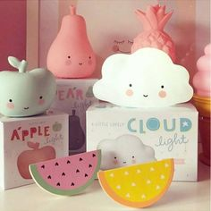 mini apple light, cloud light, pear light and pineapple light. Also our super sweet wooden watermelon wall hooks lampe nuage pomme poire