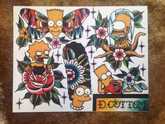 The Simpsons Tattoo Flash Sheet 11x14 by DrewCottomArt on Etsy