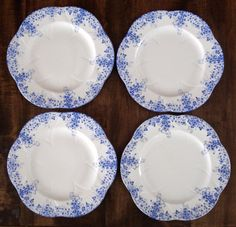 Set of Four Shelley Dainty Blue China Dinner Plates - 11 inches - perfect cond. #Shelley