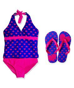 This Blue & Hot Pink One-Piece & Flip-Flop - Girls by Jump'N Splash is perfect! #zulilyfinds