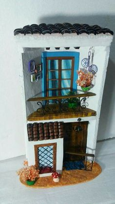 This Pin was discovered by Alexandra Ladd. Discover (and save!) your own Pins. Tile Crafts, Fun Crafts, Diy And Crafts, House Tiles, Roof Tiles, Miniature Rooms, Miniature Houses, Wooden Dollhouse, Dollhouse Furniture