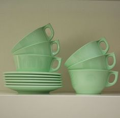 Vintage mint green melaware cups and saucers. <3 Green & white country kitchen theme