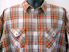 Mens Pendleton Tracker Shirt 2XL Red Brown Blue Plaid 100% Cotton Short Sleeve #Pendleton #ButtonFront