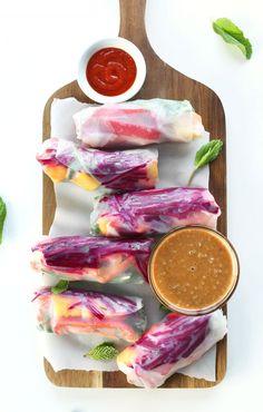 Rainbow Spring Rolls with Ginger Peanut Sauce! #vegan #glutenfree #healthy #minimalistbaker