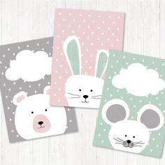 Boho Nursery, Nursery Prints, Nursery Art, Baby Room Art, Painting For Kids, Art For Kids, Maus Illustration, Deco Kids, Grey Bunny