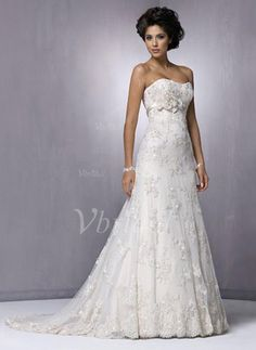 Wedding Dresses - $271.99 - A-Line/Princess Strapless Sweetheart Chapel Train Satin Lace Wedding Dress With Beading Flower(s) (00205000308)