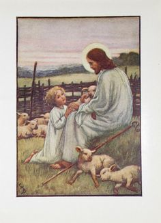 Jesus the Good Shepherd and Child with Sheep by APaperReverie, $6.50