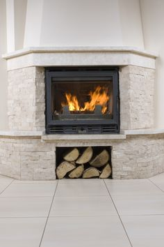 DIY stacked stone fireplace where there was none