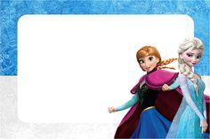 Convite,Moldura e Cartão Frozen Azul e Branco: