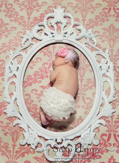 Victorian frame, pink damask, diaper cover, bow, headband, newborn photography, pose, baby