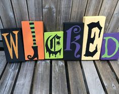 Wicked Halloween Blocks / Wicked Sign / Halloween Home Decor / Witch Blocks Wooden Halloween Signs, Halloween Blocks, Halloween Wood Crafts, Halloween Words, Halloween Home Decor, Halloween Banner, Outdoor Halloween, Diy Halloween Decorations, Fall Halloween