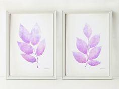 Lavender leaves print set, Light purple Printable nursery decor, Pastel art prints 5x7 Nursery prints Lilac purple art Pastel wall print art by EphericaArt on Etsy