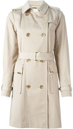 $433, MICHAEL Michael Kors Michl Michl Kors Beverly Trench Coat. Sold by farfetch.com. Click for more info: https://lookastic.com/women/shop_items/351554/redirect