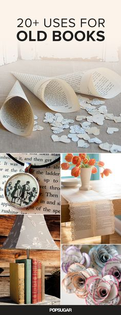 If you're a die-hard bookworm, then you probably cringe at the idea of throwing away old books — even if your bookshelf has reached maximum capacity. Read on for 21 suggestions on what you can do with your old books. Old Book Crafts, Book Page Crafts, Diy Old Books, Old Book Art, Diy Using Books, Diy Altered Books, Book Page Art, Craft Books, Old Book Pages
