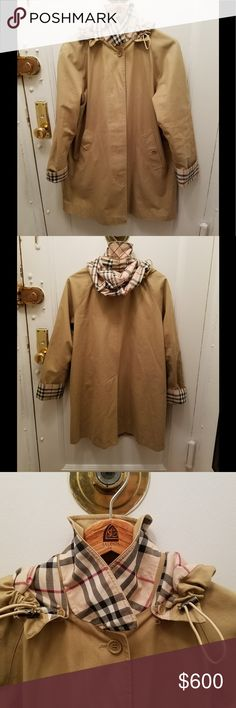 Burberry jacket  with hood Excellent used condition  classic Burberry lining think would fit medium to large I like to wear sweater under so I prefer bigger size-full length from top to bottom about 35 inch's shoulder  to shoulder about 19 hard to mesure  Model used hanger to mesure it  sleeves about 27but can be turned up  up to expose classic Burberry-lining  when turned up at seem sleeve23 chest armpit to armpit   About 22inch think would fit large medium to small large  7th pict shows…