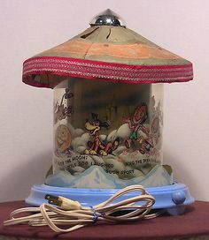 Rare Blue 1940's Econolite Mother Goose With Clouds Motion Lamp - Works Great!!