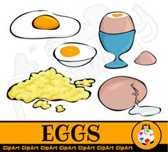 EGGS - FREE FOOD CLIPART SET You will receive a set of egg images including scrambles eggs, boiled eggs and fried egg. WHAT YOU GET 5 - TRANSPARENT PNG files - 300dpi - 6 inches. A total of 5 files. More FREE ClipArt - Lot's of free clip art available in my store.