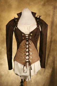 Brown Steampunk Jacket and Corset Set CUSTOM by damselinthisdress
