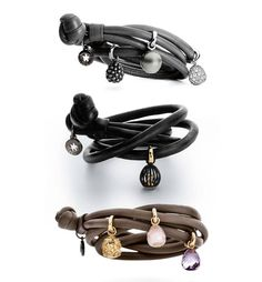 Ole Lynggaard leather and sweet drops bracelet