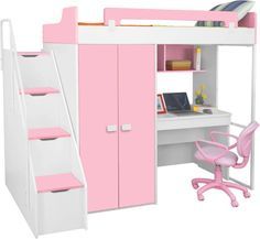 Kids Twin Bunk Bed with Wardrobe. This freshly designed bunk bed is quickly becoming one of our favorite designs for a kid's bedroom. There are so many features that make it pretty, practical and char Bunk Beds For Girls Room, Bunk Beds With Stairs, Twin Bunk Beds, Kid Beds, Girls Bedroom, Bedroom Decor, Bedroom Furniture, Kids Bed Furniture, Teenage Bedrooms