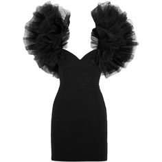 Saint Laurent Tulle-trimmed wool-crepe mini dress ($3,405) ❤ liked on Polyvore featuring dresses, saint laurent, black, form fitting cocktail dresses, sweetheart dress, form fitting dresses, 1980s dresses and wool dress