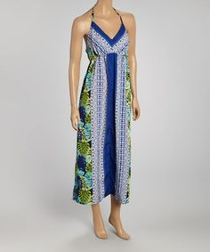 Take a look at this Blue & White Halter Maxi Dress on @zulily today!