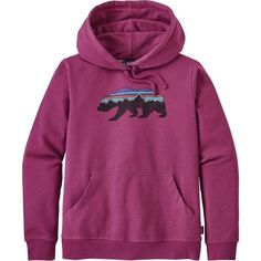 Patagonia Fitz Roy Bear Midweight Pullover Hoodie ($79) ❤ liked on Polyvore featuring activewear, activewear tops, bear pullover, purple pullover, patagonia pullover, patagonia sportswear and patagonia