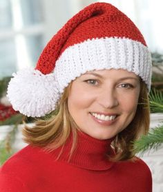 Free Crochet Santa Hat pattern from Red Heart Crochet Santa Hat, Bonnet Crochet, Knit Or Crochet, Crochet Scarves, Crochet Clothes, Christmas Crochet Patterns, Holiday Crochet, Crochet Christmas Hats, Crochet Ornaments