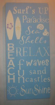 Beach, Surf, Sun, Sand, Castles, Summer, Distressed, Subway Art,  Word Art