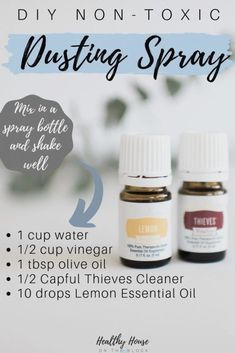 Toxin Free Spring Cleaning (and how to make your own cleaning supplies): DIY non-toxic dusting spray with Thieves and Lemon Essential Oils Cleaning, Lemon Essential Oils, Essential Oil Uses, Young Living Oils, Young Living Essential Oils, Young Living Hair, House Cleaning Tips, Cleaning Hacks, Deep Cleaning