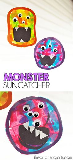 Monster Suncatcher Craft Whether if it's for Halloween or your little one just loves monsters, monster crafts can be a fun way to bring out your little… Monster Activities, Monster Crafts, Activities For Kids, Monster Party, Monster Mash, Halloween Crafts For Kids, Halloween Activities, Halloween Decorations, Halloween Ideas