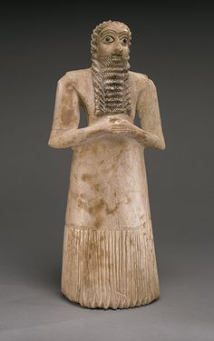 Standing male worshipper, 2750–2600 BCE. Early Dynastic period II; Sumerian style Excavated at Tell Asmar (ancient Eshnunna), central Mesopotamia Alabaster (gypsum), shell, black limestone, Metropolitan Museum of Art.