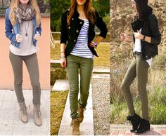 Ideas for ankle boats outfit fall casual street style leather jackets Casual Winter Outfits, Winter Fashion Outfits, Casual Fall, Fall Outfits, Autumn Fashion, Outfits Pantalon Verde, Olive Pants Outfit, Olive Green Outfit, Kakis