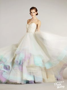 Lazaro classic ball gown with a touch of color