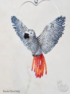 African Grey Parrot Suncatcher, Window Decor, Bird Ornament, Bird Necklace, Bird Lover Gift, Bird Figurine, Beaded Bird, Car Charm, BB #163