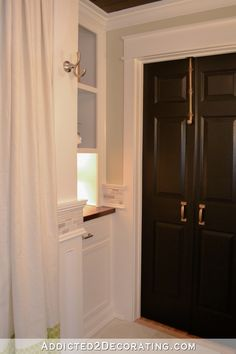 Original bathroom door replaced with double doors that open out into the hallway to make more room inside bathroom Bathroom Remodel Pictures, Restroom Remodel, Diy Bathroom Remodel, Bath Remodel, Bathroom Ideas, Bathroom Remodeling, Remodeling Ideas, Bathroom Linen Cabinet, Kitchen Cabinets In Bathroom