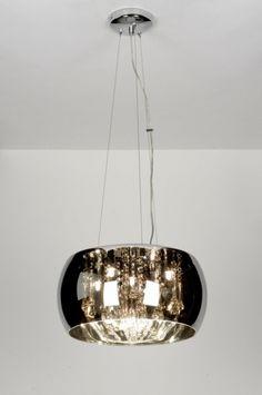 Hanglamp 71738 modern landelijk rustiek chroom glas kristal kristalglas rond