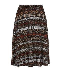 Black Tribal Print Midi Skater Skirt