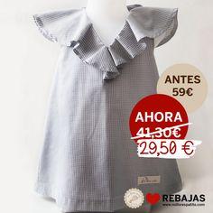 Vestido sin mangas, con escote pico delantero y trasero y volante, en vichy gris al 50% en www.nollorespatito.com