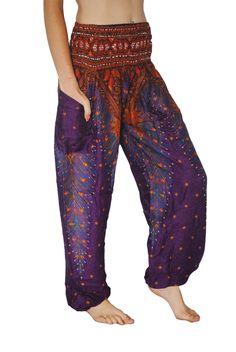 Purple Peacock Harem Pants