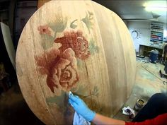 Decorative Wood Staining Rose on Table Top {by Sawdust and Embryos}