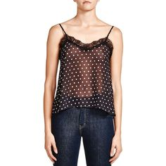 The Kooples Sheer Dot-Print Camisole ($205) ❤ liked on Polyvore featuring intimates, camis, black, polka dot camisole, polka dot cami, sheer camisole, the kooples and sheer cami