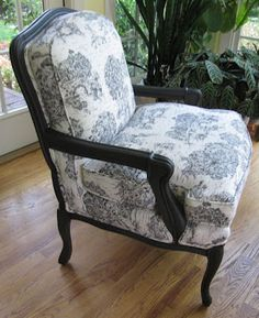 French Chair Revival - Annie Sloan Paint and Toile Fabric