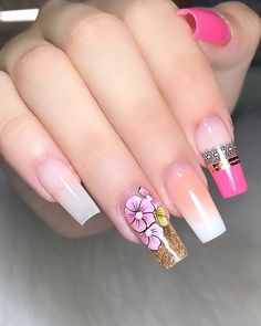10 Acrylic Nail Designs For You To Impress Everyone Remove Acrylic Nails, Acrylic Nail Art, Acrylic Nail Designs, Nail Art Designs, Hot Nails, Swag Nails, Gorgeous Nails, Pretty Nails, Aqua Nails