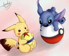 pikachu and stitch wallpaper - http://hdwallpaper.info/pikachu-and-stitch-wallpaper/  HD Wallpapers