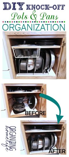 DIY Knock-Off Organization for Pots  Pans ~ How to Organize Your Kitchen Frugally Day 26   Organizing Homelife